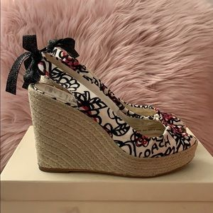 COACH wedge peep toe sandal